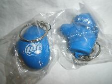 """MILLER LITE BEER RUBBERIZED PLASTIC """"BOXING GLOVE"""" SHAPED KEYCHAIN (2)"""