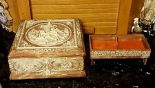 LG Vntg Mauve Incolay Jewelry Box 3D Victorian Couple Cherubs/ADDITIONAL INSERT!