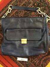 $325 NWT DKNY Crosby Classic Lock Navy Blue Leather Purse Satchel & Storage Bag