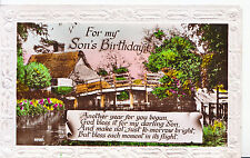 Greetings Postcard - For My Son's Birthday - Showing House - Real Photo   ZZ3701