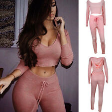 Fashion Womens Pink Tracksuit 2Pcs Long Sleeve Sports Jogging Hoodies& Pants New