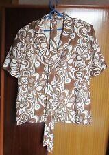 Ladies short sleeved top - brown and cream - size 22