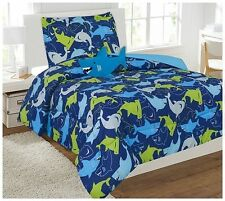 6pc SHARK Twin Sized Boys Comforter Set Bed in a Bag Bedding Sheet Set