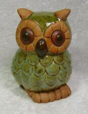 Owl Ceramic Figurine Earth Colors Brown Teal Blue Feathers Woodland Nature