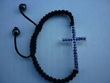 RHINESTONE CROSS CURVED SIDE WAYS HEMATITE ADJUSTABLA BRACELET