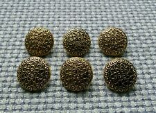 6 x Gold Tone Tarnished Look Metal Flower Buttons 18mm Vintage Gothic Steampunk