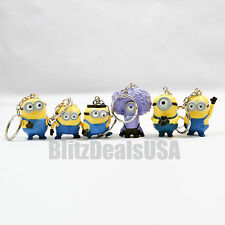 Rare 6PCS Keychain Set Despicable Me 2 Mini Action Figure 3D Minion Toys @ USA