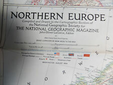 """Vintage 1954 National Geographic Map - Northern Europe - 29"""" x 36"""""""