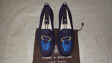 "RARE! Men's $495 Stubbs & Wootton Blue Canvas ""HALO SKULL"" Loafers Slippers Shoe"