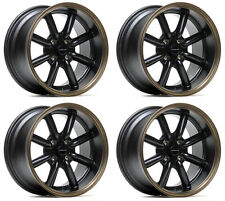 "ULTRALITE TB 15"" x 8J ET0 4x100 3"" DEEP DISH BLACK BRONZE LIP ALLOY WHEELS Y3137"