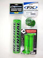 "Renthal Green 10"" Crossbar Bar Pad ODI Ruffian MX Grips Kawasaki Grip Donuts NEW"