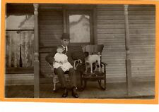 Real Photo Postcard RPPC - Father and Son and Dog Seated on Porch