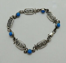 Hall marked Egyptian Pharaoh Silver Decorated Bracelet , Real silver not plated