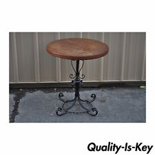 Vintage Arts & Crafts Mission Style Wood & Wrought Iron Occasional Lamp Table