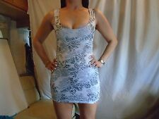Jane Norman White/Grey Mini Dress Size 10 New