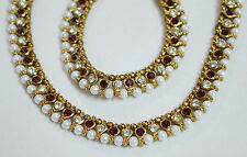 Designer Antique Gold Tone /Plated Pearl Stone Diamonds Party Anklet Payal Set