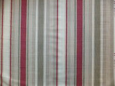 LAURA ASHLEY Awning Stripe Raspberry / Lichen Fabric 3.2 Meters