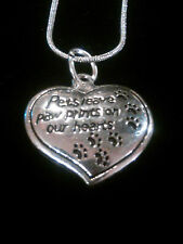 """""""Pets Leave Paw Prints on Our Hearts"""" Sterling Silver Pendant Necklace"""
