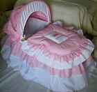 PINK AND WHITE 'PRINCESS' MOSES BASKET COVER SET BY BABYFANZONE