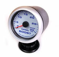 Diesel Boost Gauge 30psi Blue Back Light Silver Rim 65mm Audi TDI Turbo Seat