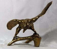 """Large Vintage Brass Eagle Perched on a Branch Statue Figurine 11"""" Patriotic"""
