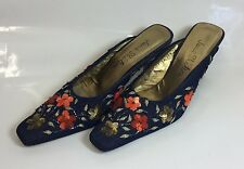 Jane Shilton Ladies Blue Denim Orange Gold Sequin Floral Mule Shoes Size 5/38