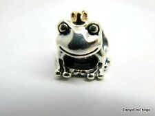 AUTHENTIC PANDORA CHARM  FROG PRINCE WITH 14K CROWN #791118 HINGED BOX INCLUDED