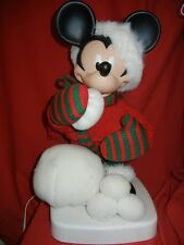 VINTAGE LARGE ANIMATED DISNEY MICKEY MOUSE w SNOWBALL CHRISTMAS DISPLAY FIGURE