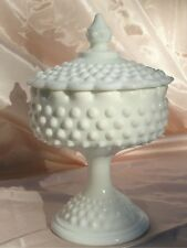 Fenton Hobnail Milk Glass Pedestal Candy Dish with Lid