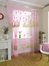 270x100cm Pink Calla lily Pattern Balcony Window Curtain Voile Drape Panel