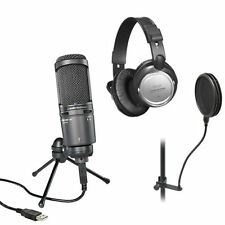 Audio-Technica AT2020USB PLUS Cardioid Condenser USB Microphone BONUS PAK