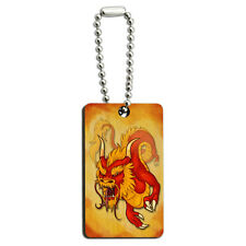 Chinese Dragon - Red Serpent Asian Wood Wooden Rectangle Key Chain