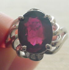 Natural Rhodolite Garnet 6.50ct Ring 925 Silver,Vintage Estate Jewelry.Size 6.75