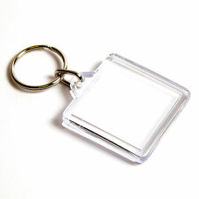 100 QUALITY BLANK CLEAR SQUARE KEYRING'S 32mm x 32mm