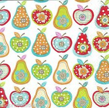 4 x Single PAPER NAPKINS Shabby Chick Style Apples & Pears DECOUPAGE SET