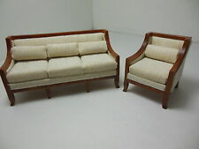 Dollhouse Miniatures Furniture  3220ve-wn & 3221ve-wn Couch & Chair Set