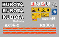 KUBOTA KX36-2 MINI DIGGER COMPLETE DECAL SET WITH SAFETY WARNING SIGNS