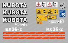 KUBOTA KX36-2 ENSEMBLE COMPLET AUTOCOLLANT MINI PELLE