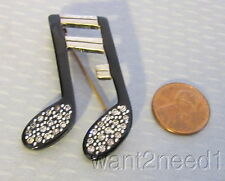 20s French deco black galalith MUSICAL NOTE PIN silver overlay rhinestone Bonaz