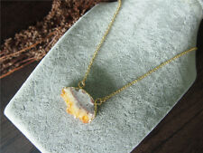 Citrine Druzy Drusy Raw Rough Natural Gemstone Yellow Gem Pendant Women Necklace