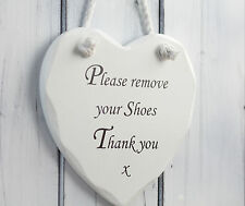 please remove your shoes sign plaque wooden heart christmas gift Shabby n chic