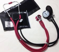 NEw! Burgundy Stethoscope & Black Blood Pressure Cuff Sphygmomanometer Set #340