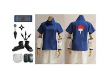 Naruto Uchiha Sasuke 2nd Cosplay Costume Shoes Props Whole Set