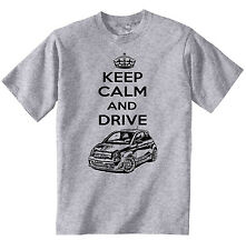 FIAT ABARTH 2015 KEEP CALM AND DRIVE P - COTTON GREY TSHIRT - ALL SIZES IN STOCK