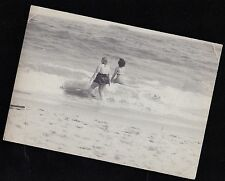Antique Photograph Two Women From Behind in Bathing Suits Walking in Ocean