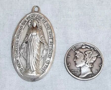 Vintage Sterling Silver Big Oval Fancy Scalloped MIRACULOUS MEDAL