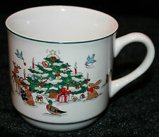 Ming Pao Woodland Christmas Cup China Mug Tea Coffee Eggnog Woods Animals