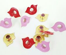 Scrapbooking Eyelets 12 Valentine Kissy Lips Lipstick Pink Red Stamping PaperArt