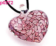 heart handmade Murano art lampwork glass heart pendant necklace cord PURPLE