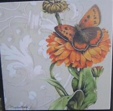 Marjolein Bastin Nature's Journey Marigold Flower w Butterfly Square Wall Art